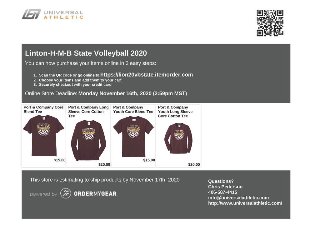 Volleyball T-Shirt Order Form
